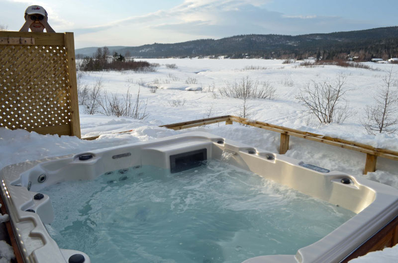 The hot tub is open all year round at Chateau Shady Loop